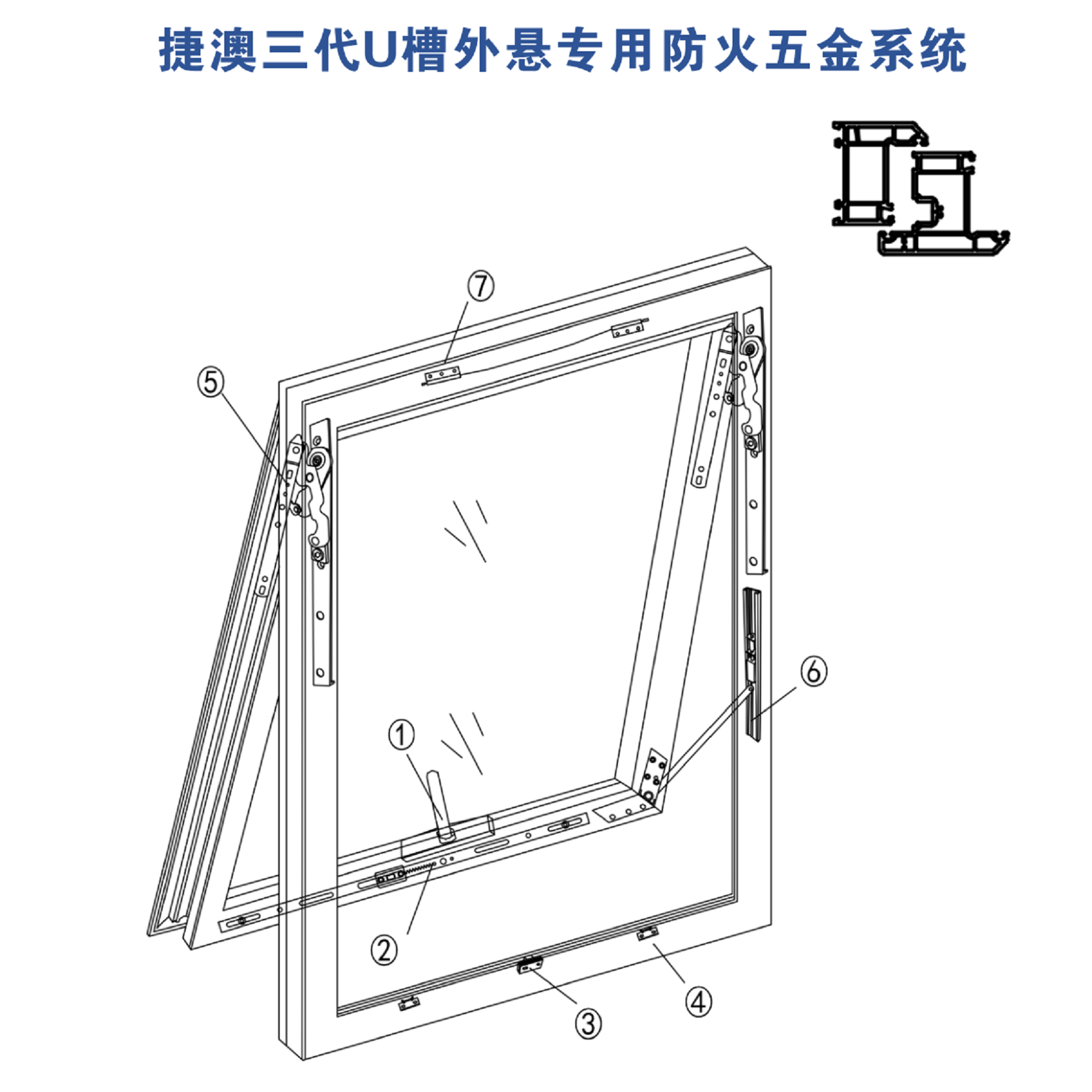Special fireproof hardware system for external suspension of U trough in Jieao