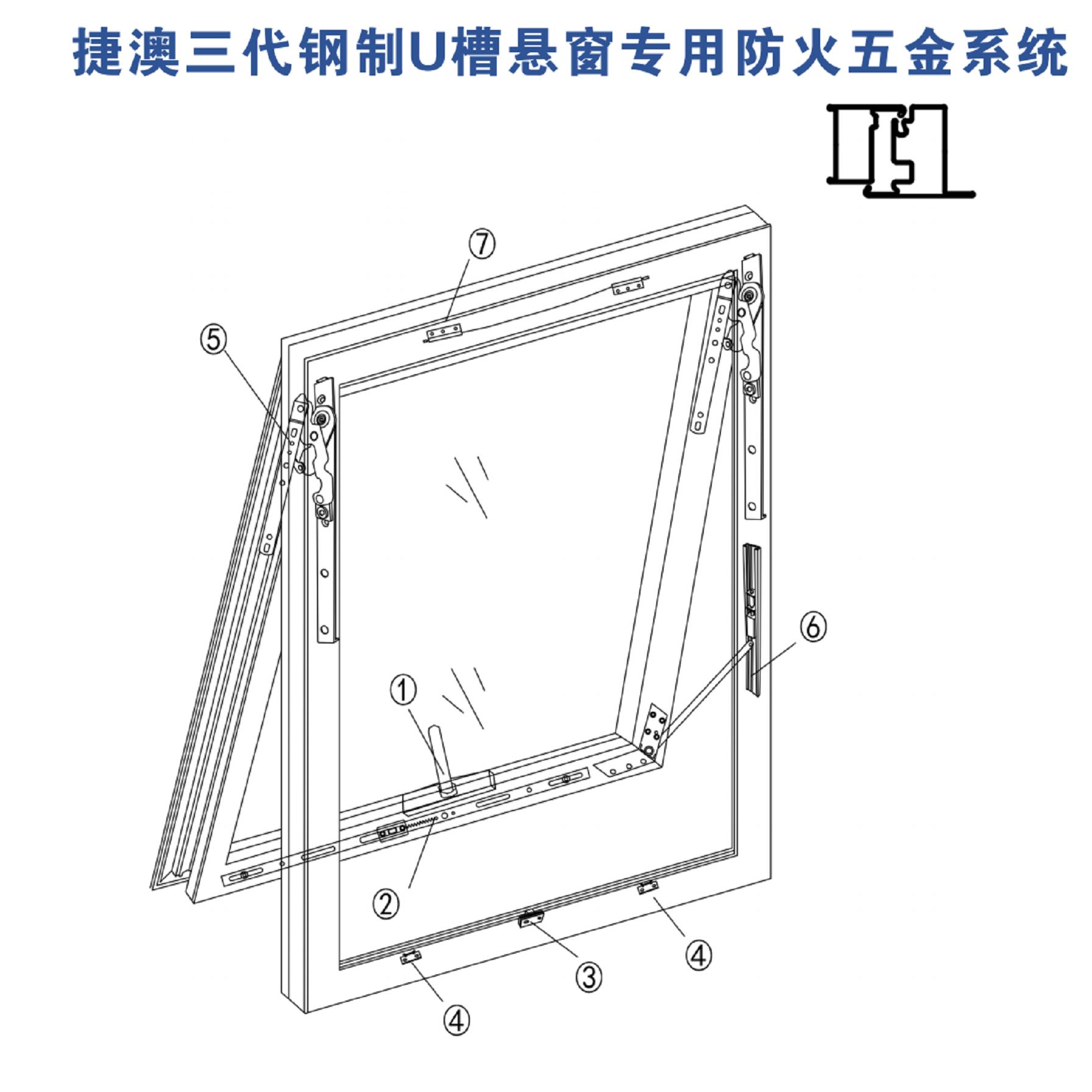 Special fireproof hardware system for Jieao steel U-slot hanging window