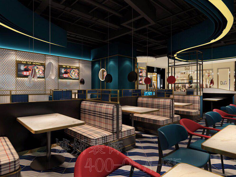 杭州螃蟹煲店装修设计-专业小吃店铺设计效果图