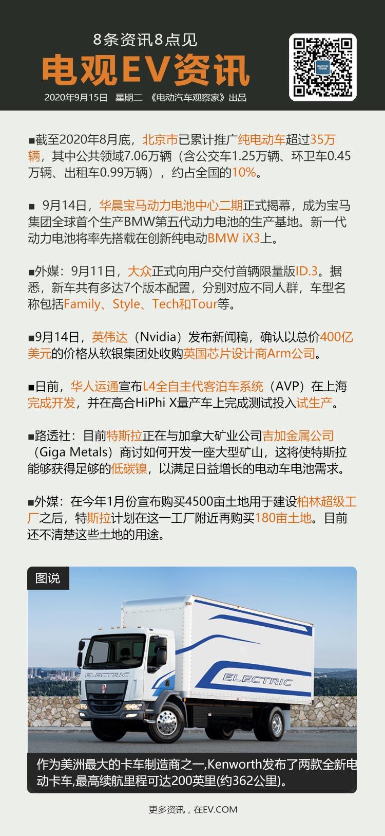 9月15日:恒大汽车出售非汽车业务公司股权、华晨宝马电池中心二期揭幕、大众交付限...