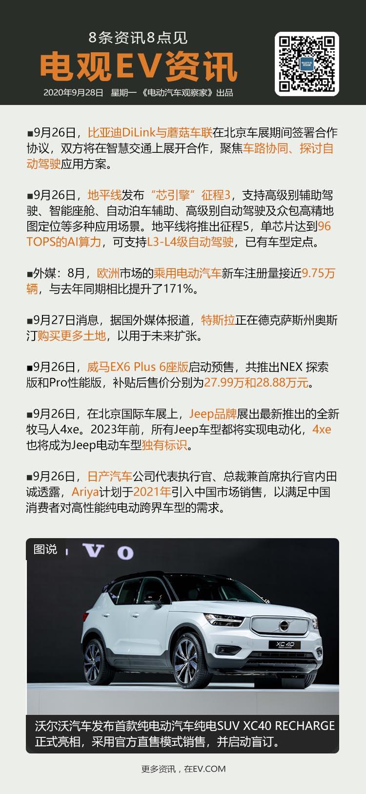 """9月28日:比亚迪与蘑菇车联达成合作、地平线发布""""芯引擎""""征程3、8月欧洲电动汽..."""