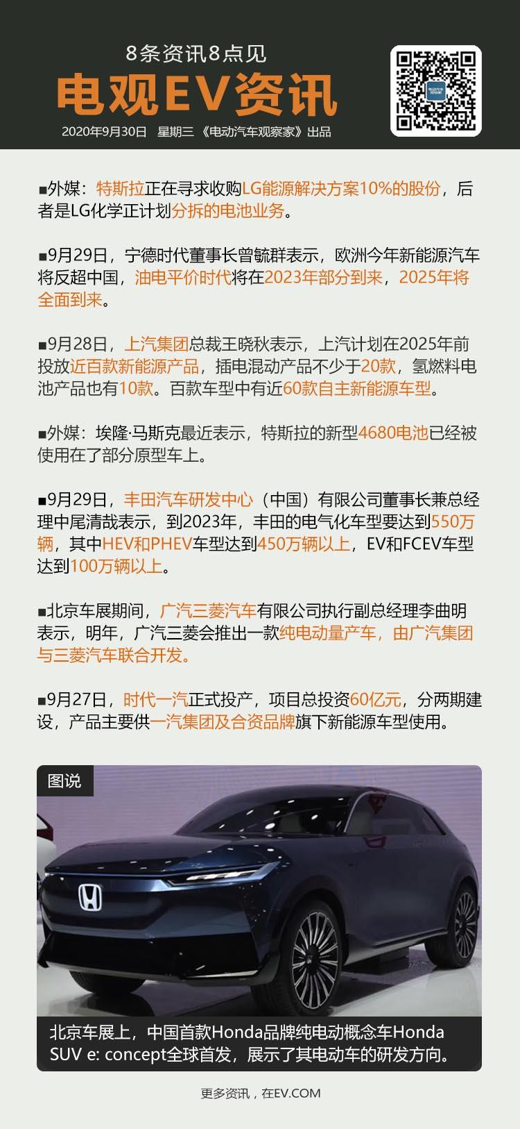 9月30日:特斯拉拟入股LG化学电池公司、曾毓群称2025年油电平价时代全面到来...