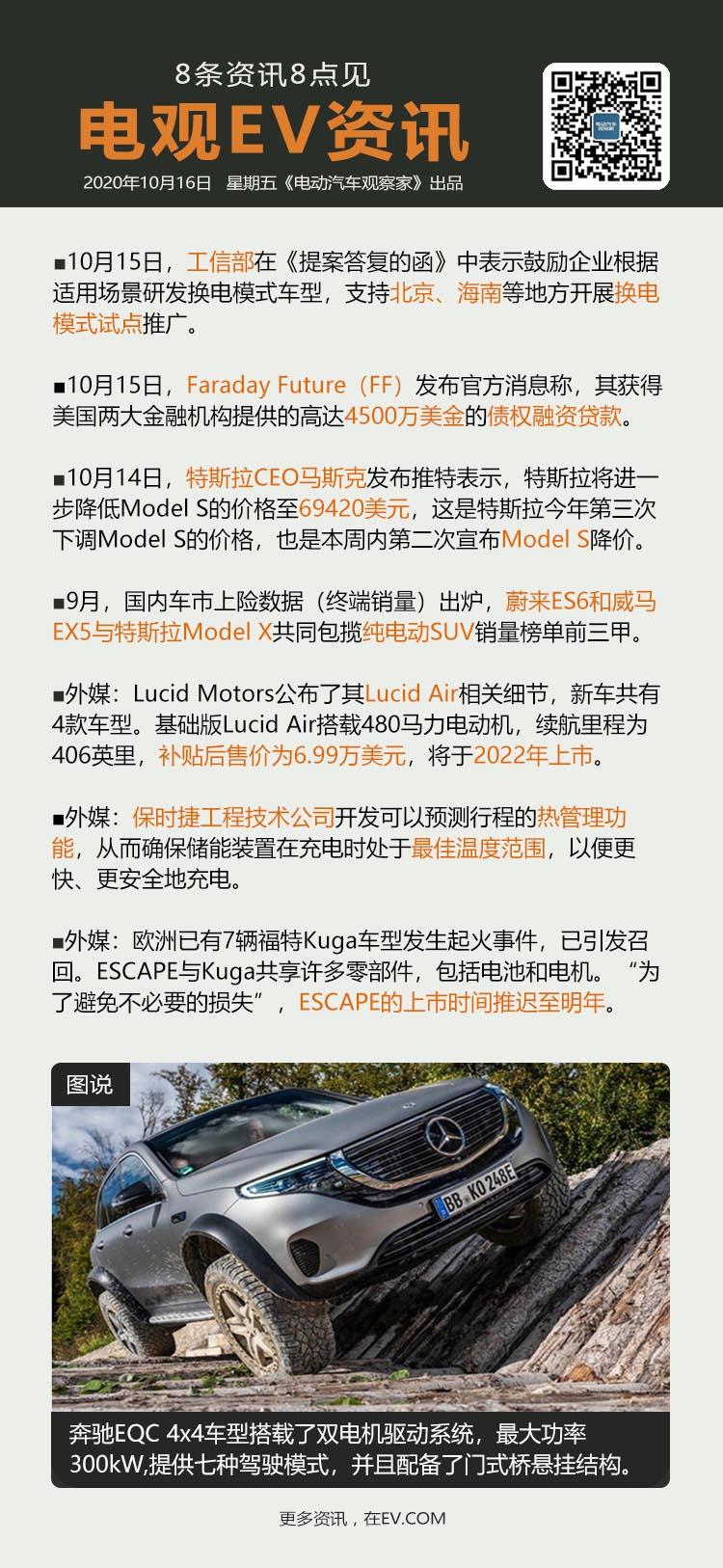 10月16日:工信部支持北京海南等开展换电试点等8条资讯