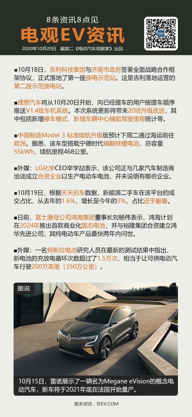10月20日:吉利智能换电站落地济南、理想汽车发V1.4版车机、搭载磷酸铁锂Mo...