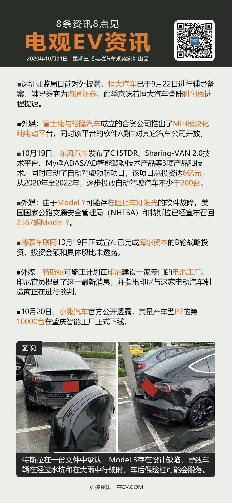10月21日:恒大汽车启动科创板上市辅导、富士康推出MIH纯电动平台、东风启动自...