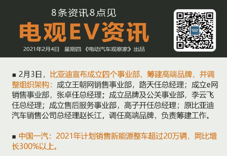 2月4日:比亚迪调整组织架构、吉利重庆高速换电站投运、特斯拉美国召回1.3万辆