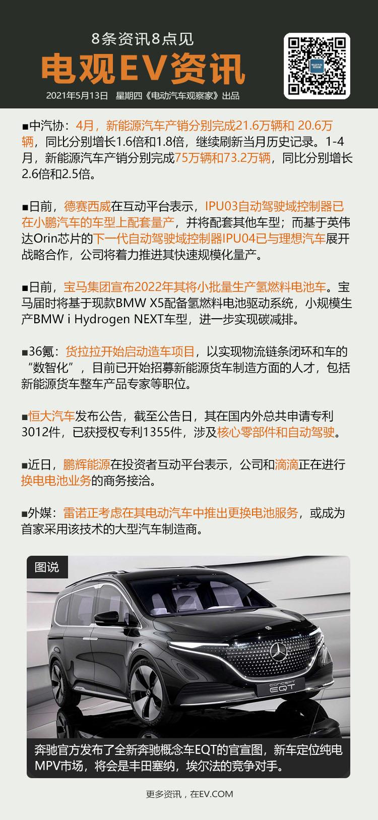 5月14日:4月中国新能源汽车产销均超20万辆、德赛西威IPU03自动驾驶域控制...