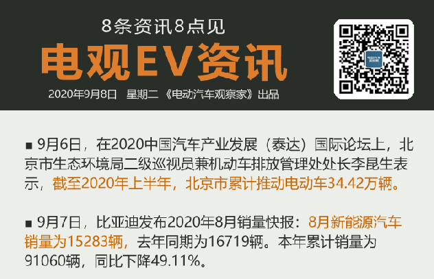 9月8日:疑811风波致宁德时代股价大跌、比亚迪新能源车8月卖1.5万辆、北京累...