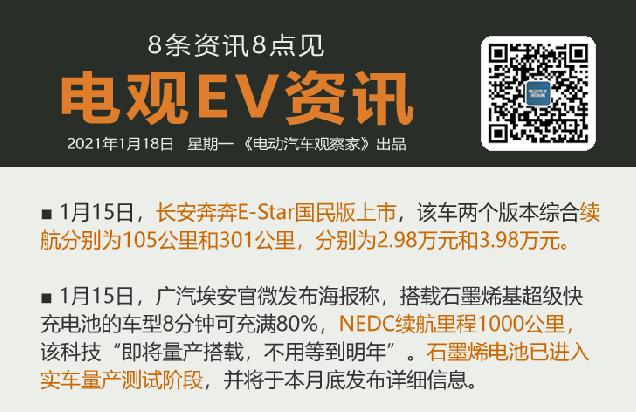 1月18日:现代广州建氢燃料电池厂、奔奔E-Star国民版上市、ARCFOX α...