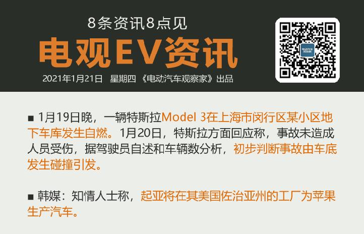 1月21日:特斯拉回应Model 3上海自燃、传起亚为苹果造车、奔驰EQA首发