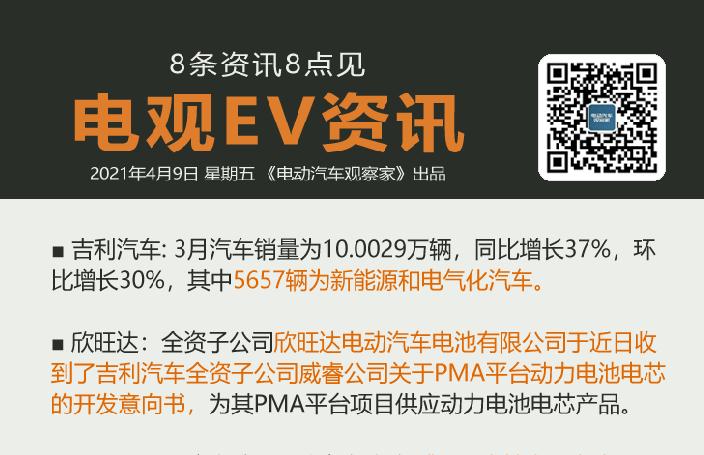 4月9日:宏光MINIEV马卡龙上市、上汽腾讯合作、吉利3月电动车卖5657辆