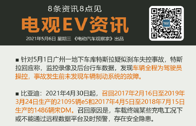 5月6日:比亚迪召回逾2万辆电动车、海南买新能源车奖1万元、特斯拉回应广州事故