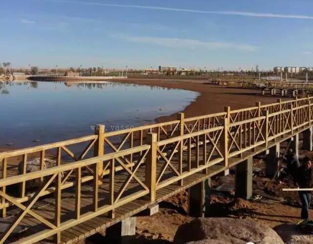 内蒙古阿拉善右旗沙漠植物园,栈桥柱子混凝土面腐蚀采用中德新亚环氧砂浆修复