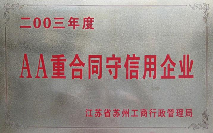 2003年,中诚建材被江苏省工商行政管理局评为二00三年度AA重合同守信用企业。