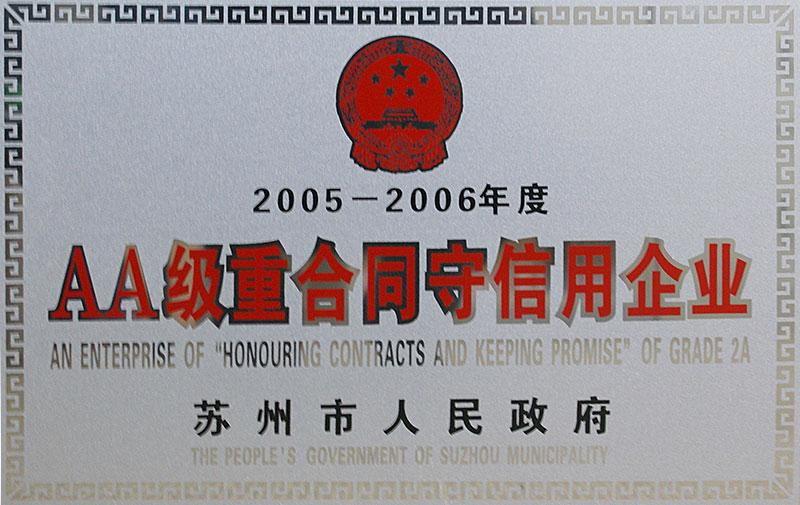 """2005——2006年,中诚建材被苏州市人民政府评为""""AA级重合同守信用企业""""。"""