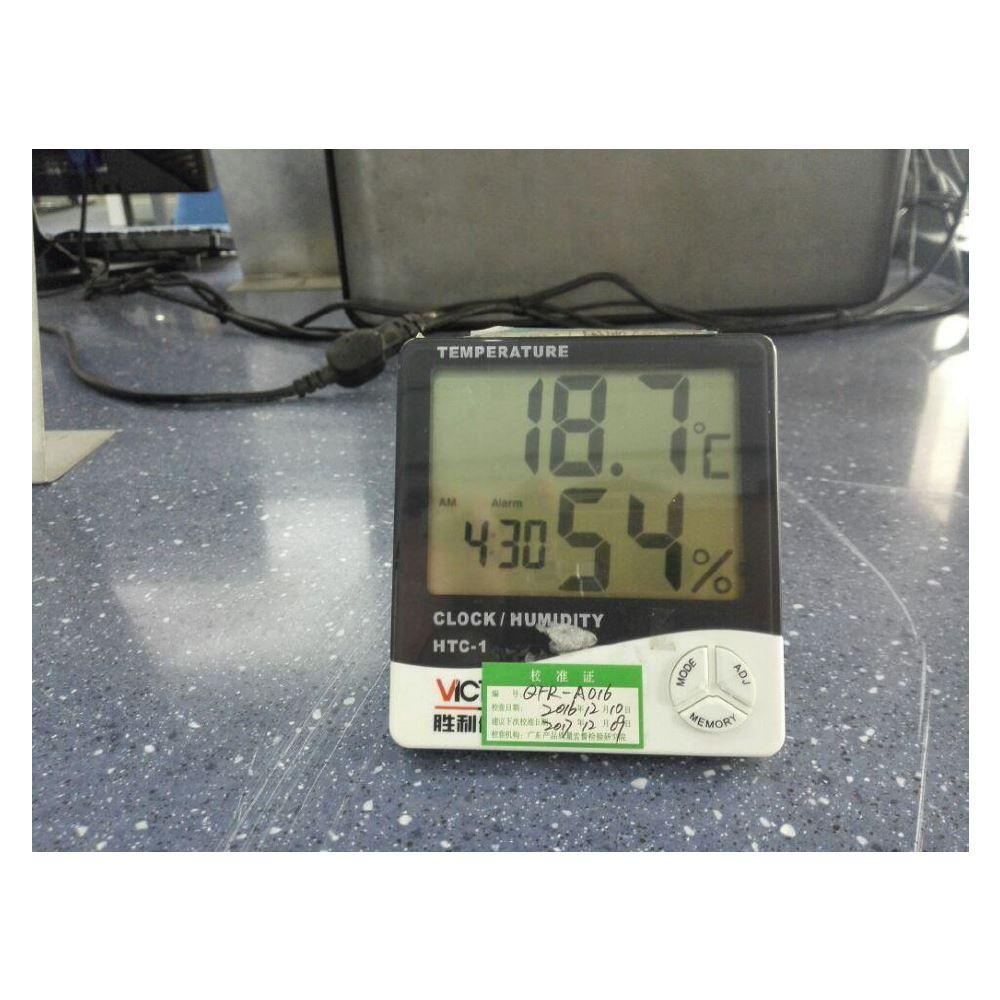 监控实验室试验温度、湿度, 将室内温湿度管控在标准试 验范围。