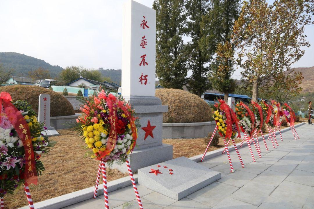 朝鲜平壤江东郡中国人民志愿军烈士陵园内拍摄的纪念碑