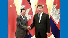 国家主席习近平在北京人民大会堂会见柬埔寨首相洪森