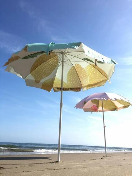 加工定制沙滩伞 海滩遮阳伞防雨防晒可印logo广告的沙滩阳伞订做厂家