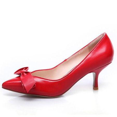 Leather pointed heels S006
