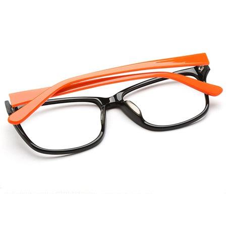 黑色十桔色长方形光学眼镜 P600074