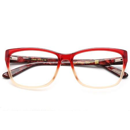 红色渐变长方形光学眼镜 P600075