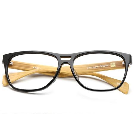 木纹黑框椭圆形光学眼镜 P600098