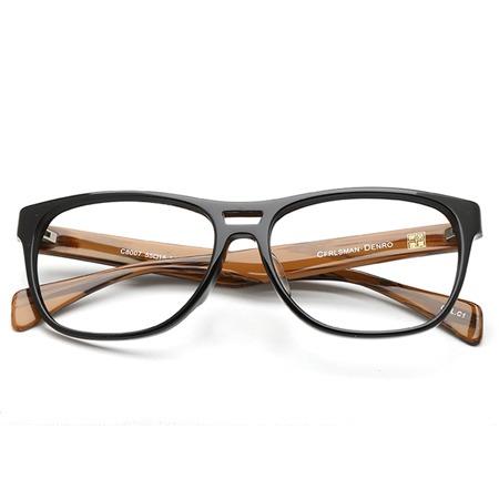 深棕木纹黑框椭圆形光学眼镜 P600096