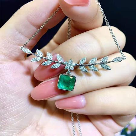 祖母绿 镶钻项链 ASN006