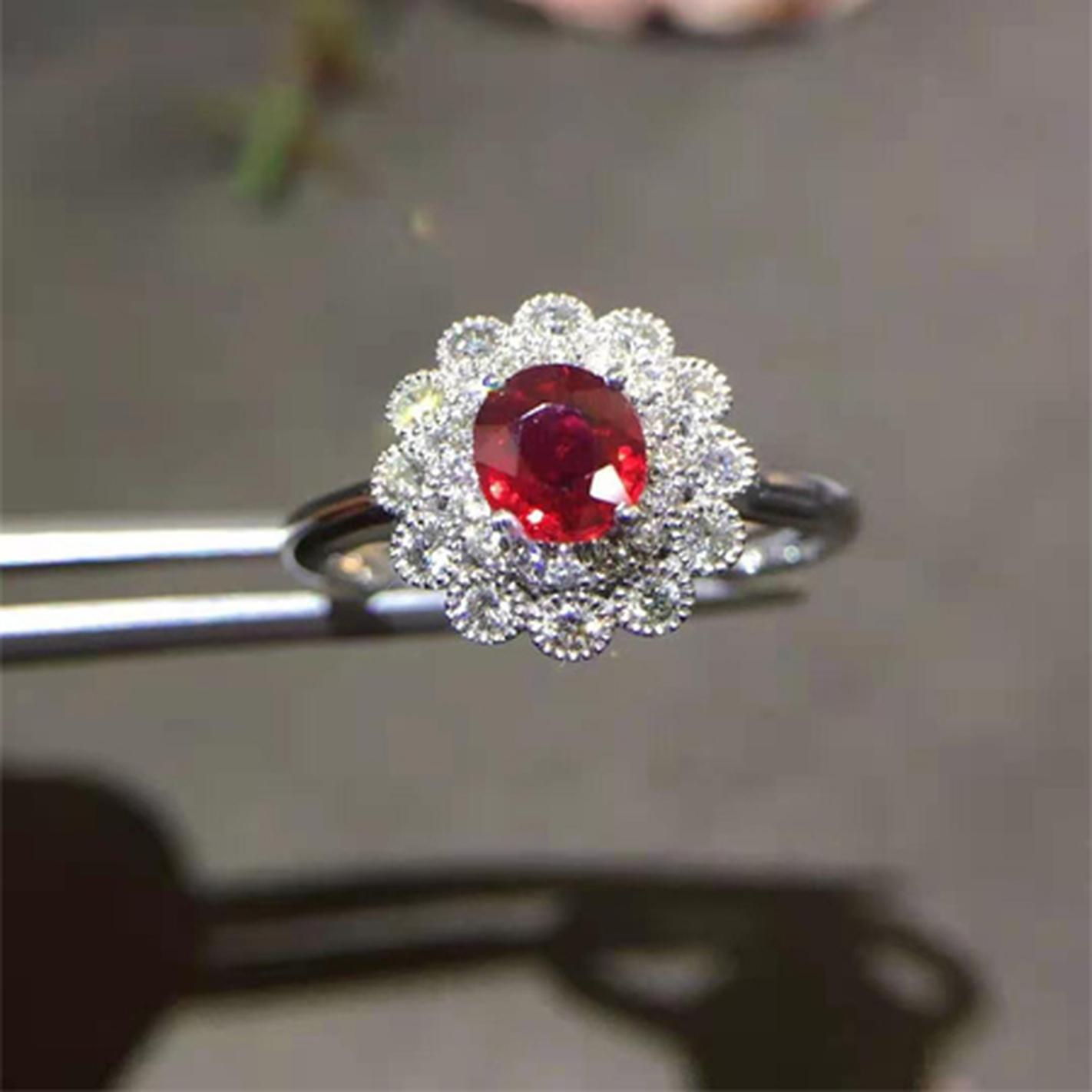 红宝石钻石戒指   AXR007