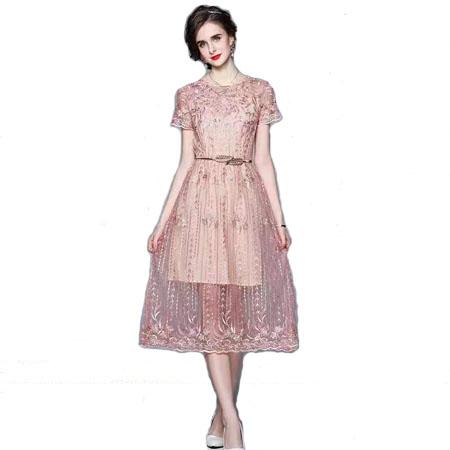 刺绣网纱短袖裙