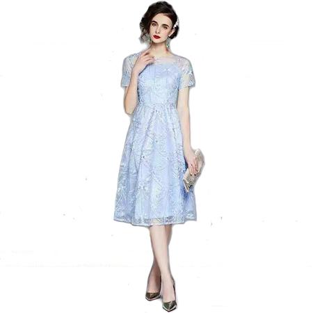 圆领刺绣纱网短袖裙