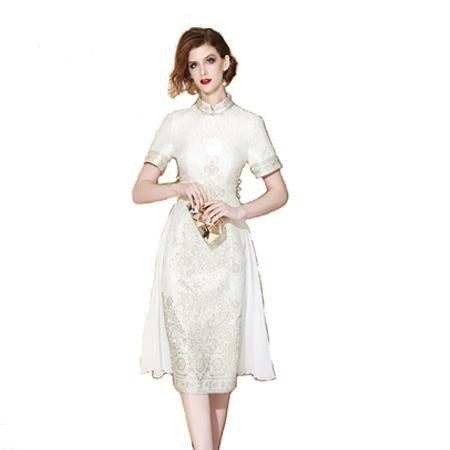现代古典浮花旗袍