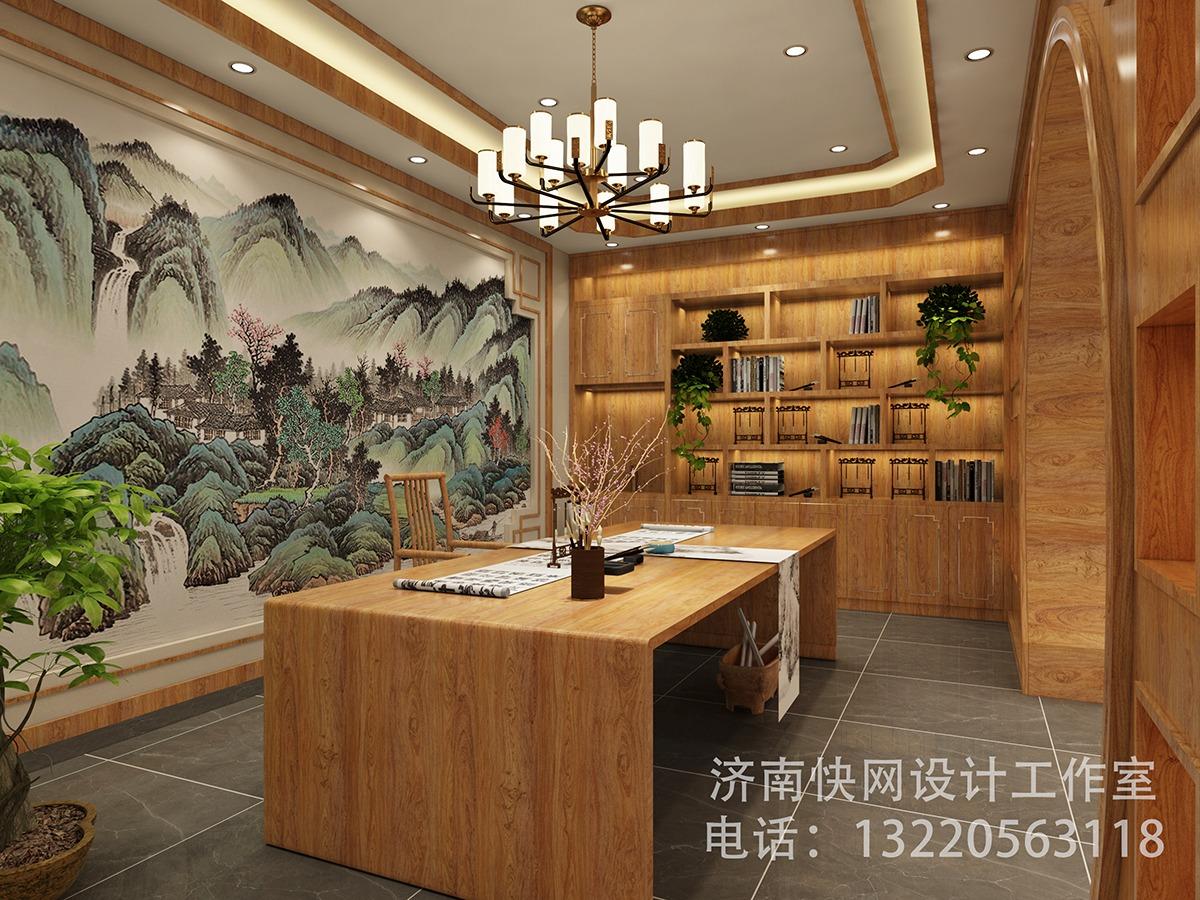 奢侈豪华新中式书法阅读室