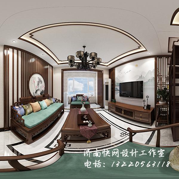 中式客厅全景效果图