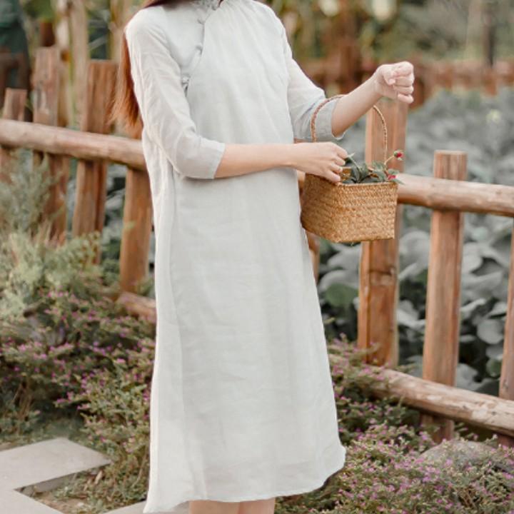 国风中式仙女装文艺复古刺绣旗袍连衣裙wy006