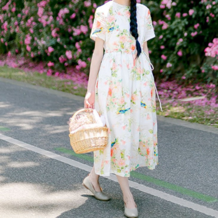 纯苎麻印花连衣裙wy007