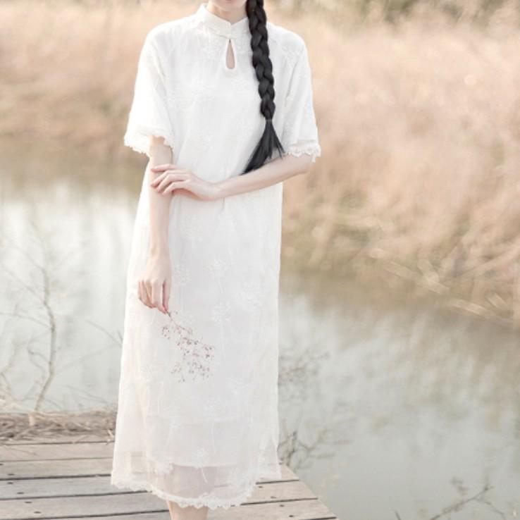 立领刺绣旗袍裙wy008