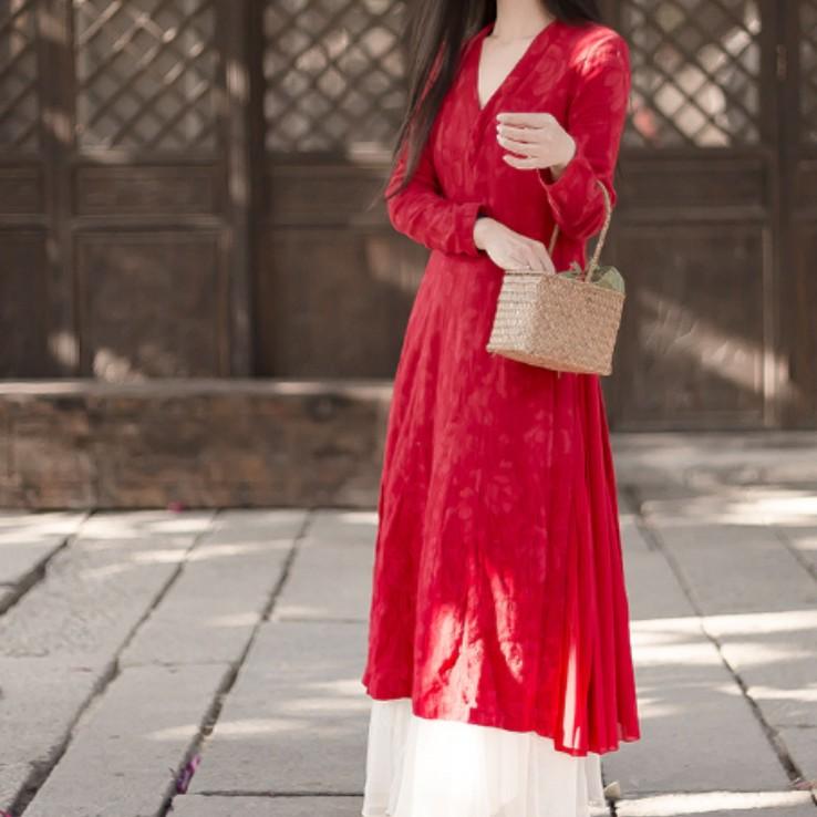 棉麻提花文艺连衣裙wy012