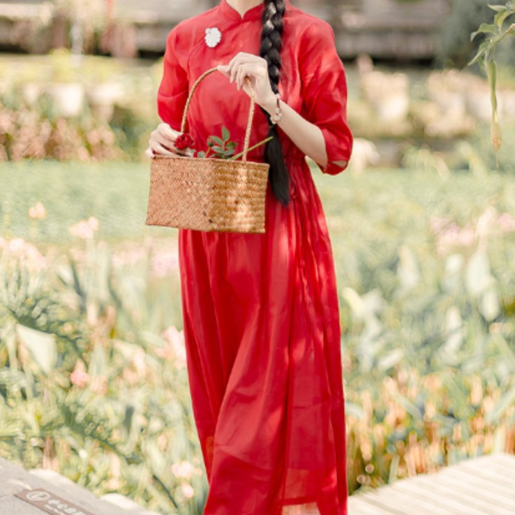 文艺复古旗袍连衣裙wy014