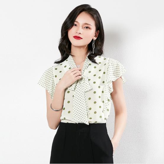 简约波点雪纺衬衫-2cs022