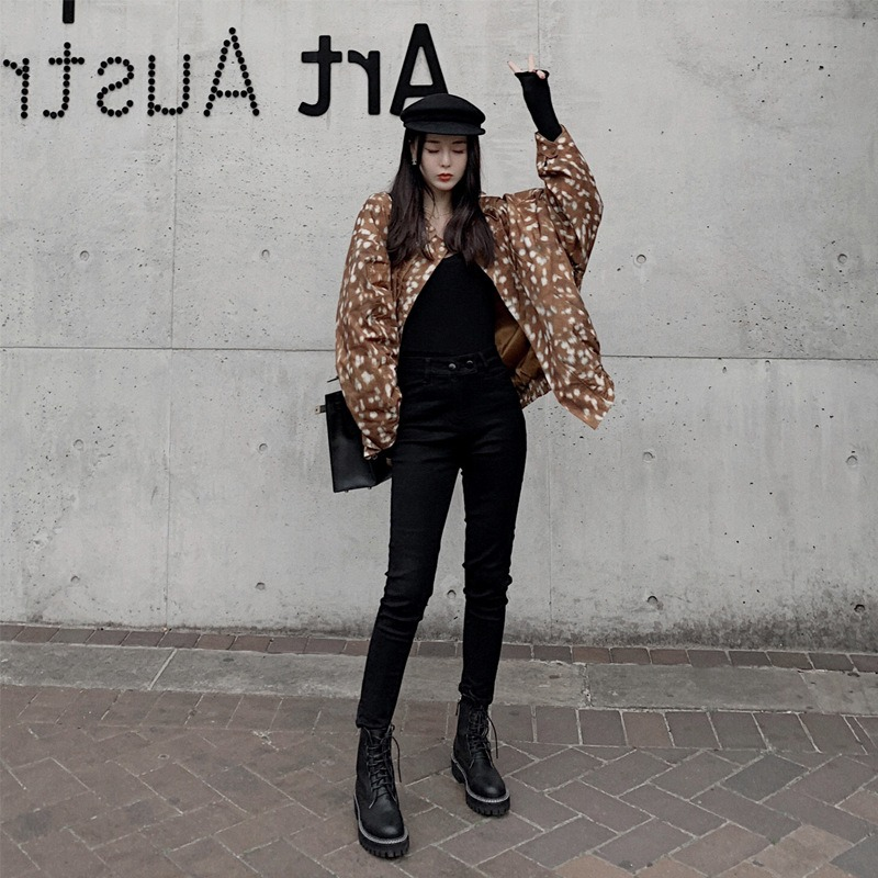 黑色高腰牛仔裤女 新款潮秋冬修身弹力显瘦紧身铅笔裤