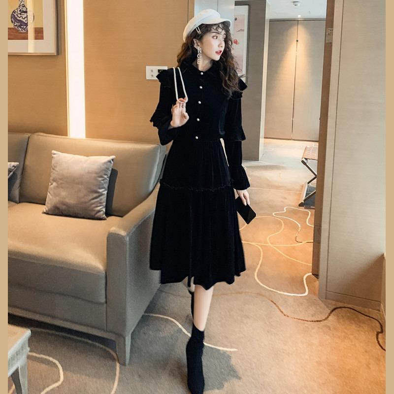 网红女神范丝绒连衣裙2020春夏新款跨境女装气质时髦中长裙两件套