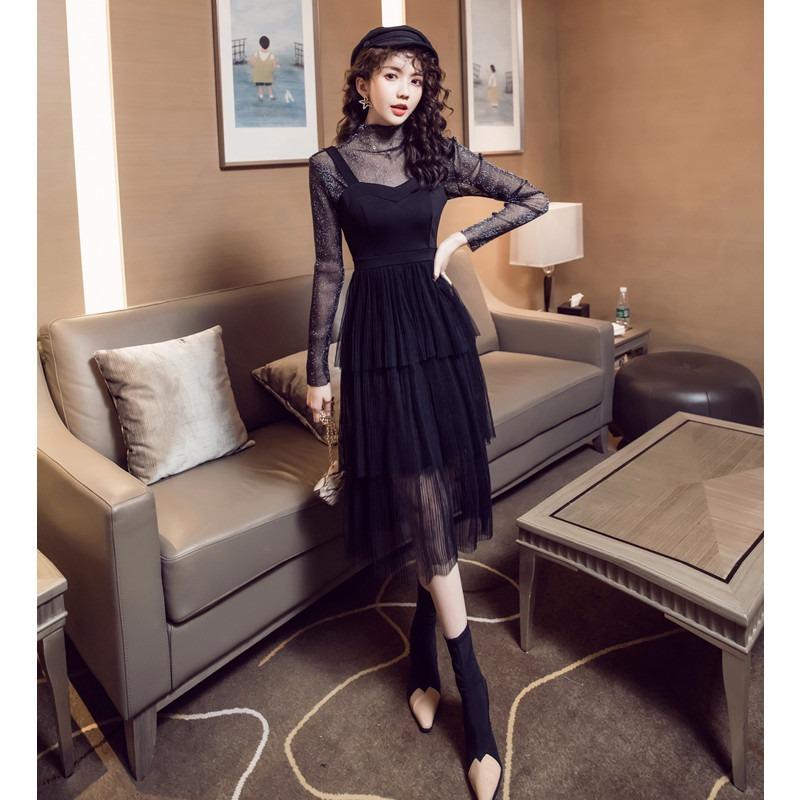 新款女装透视上衣+修身吊带网纱蛋糕连衣裙两件套套装