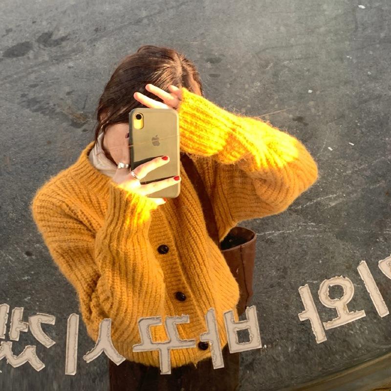 加厚绒针织开衫女 韩版气质毛衣外套上衣冬潮