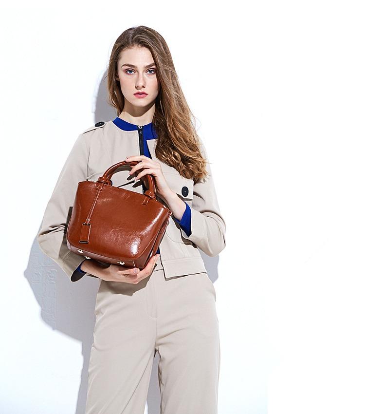 四季新款牛皮包潮 时尚经典托特包 复古百搭手提斜挎包
