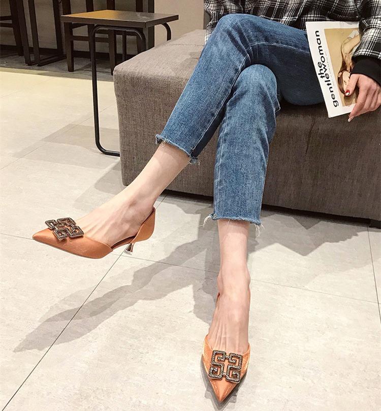 新款高跟鞋 女中空单鞋 女尖头细跟绸缎渐变色气质韩版水钻鞋