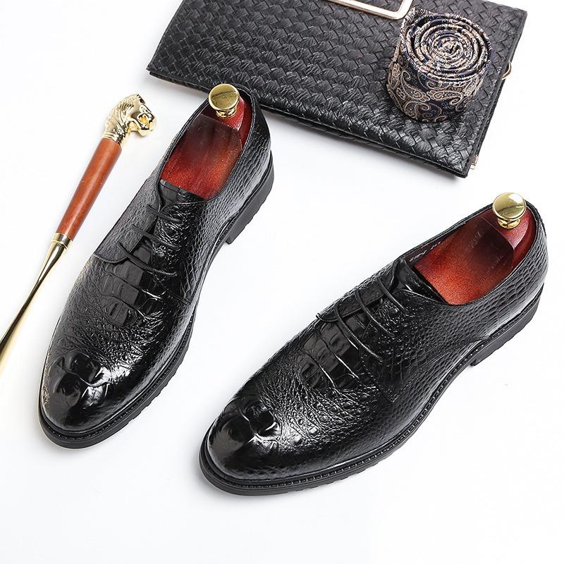新款鳄鱼纹德比鞋 英伦风尖头正装商务真皮鞋 新款头层牛皮男鞋