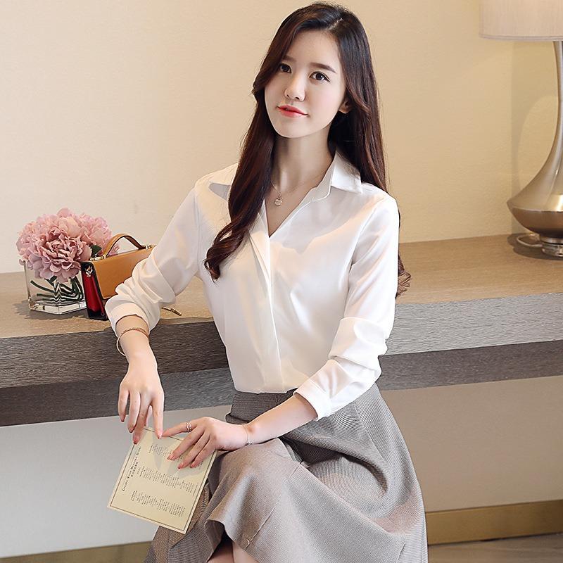 2020春季新款女装简约气质衬衫 长袖翻领韩版纯色显瘦打底衬衣