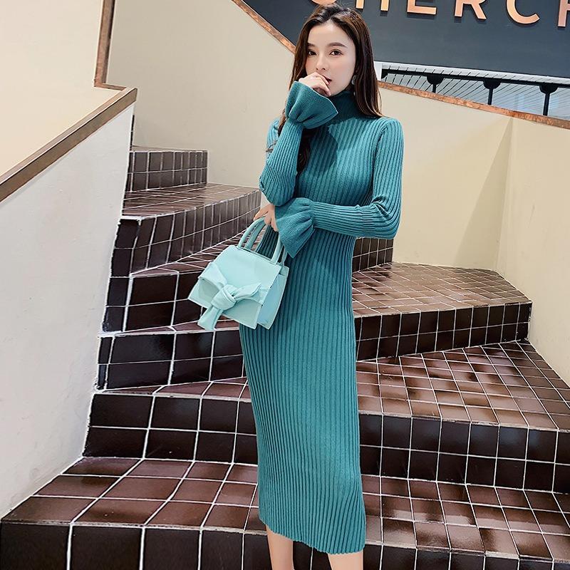 秋冬新款喇叭长袖针织裙 长款过膝百搭气质高领修身显瘦打底裙